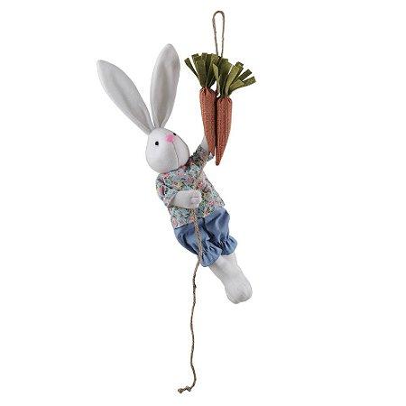 Decoração Páscoa Coelho na Corda com Cenoura Floral