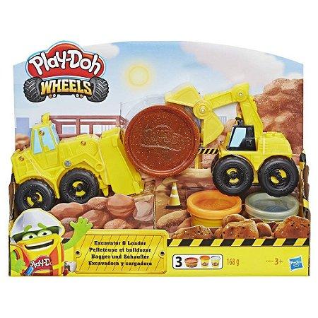 Massinha Play Doh Wheels Escavadeira e Carregadeira Hasbro