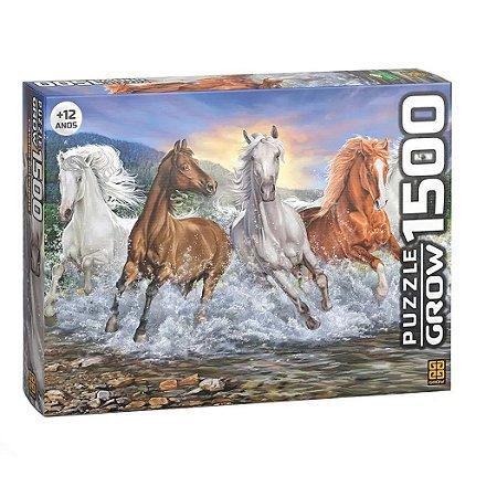 Puzzle Cavalos Selvagens Quebra-Cabeças 1500 Peças Grow