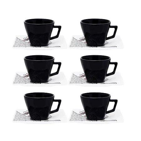 Kit Xícaras Chá ou Café c/ Leite Boho 200 ml Porcelana
