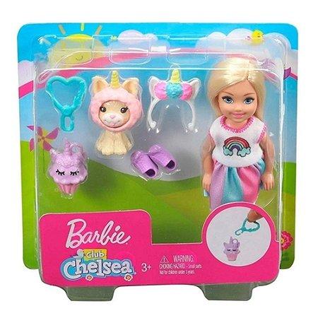 Boneca Barbie Club Chelsea com Fantasia de Unicórnio