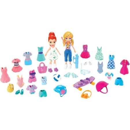 Boneca Polly Pocket e amiga Kit grande moda esportiva