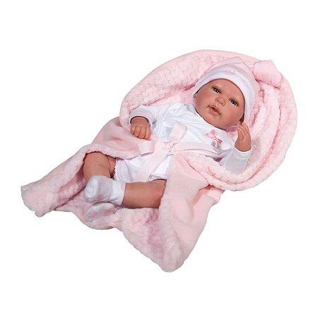 Boneca Bebê Reborn Rosa Olhos Abertos Baby Brink