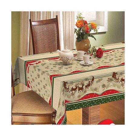 Toalha de Mesa Natal Linhão Quadrada 1,40 x 1,40 Rena Raner