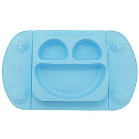 Prato de Silicone para Bebê Azul