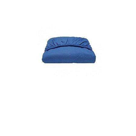 Lençol Malha Sof Avulso C/ Elástico Solteiro King Azul Jeans