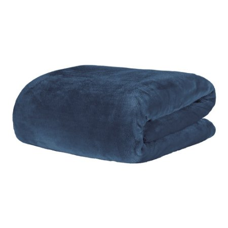 Cobertor Manta Blanket Casal 300g Azul Jeans - Kacyumara