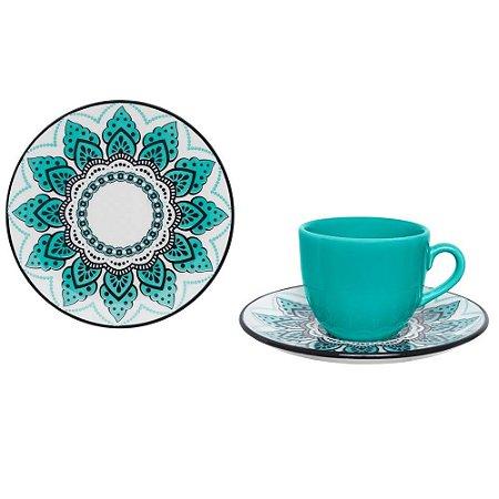 Kit Xícara Serene Chá 200 ml e Prato Sobremesa Oxford