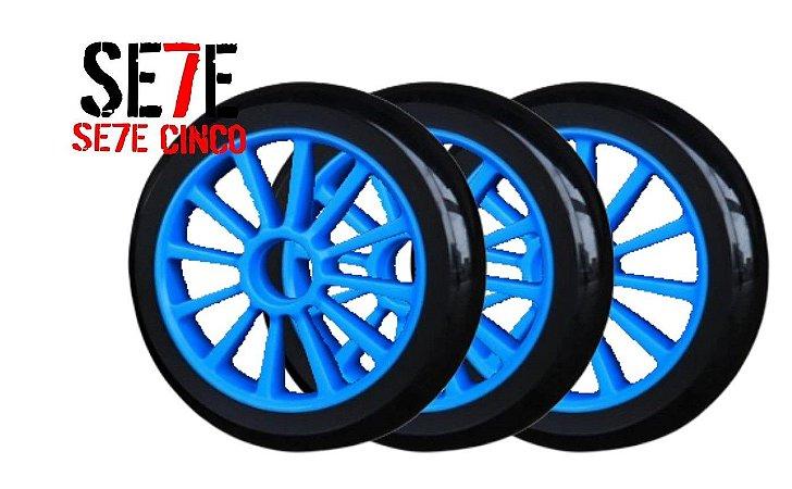 Rodas P/ Patins Roller Inline 125mm/82a Azul kit 03 Unidades