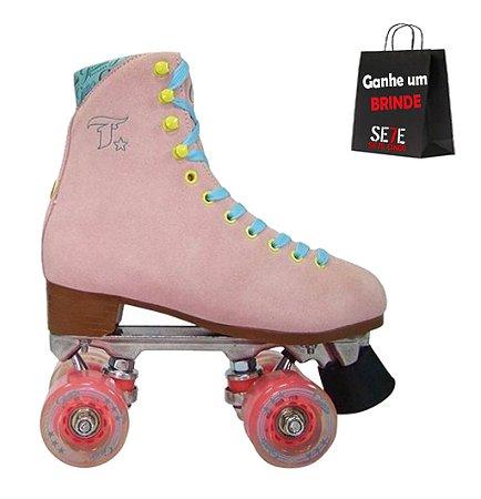 Patins Quad Traxart Glitter Rosa 4 rodas