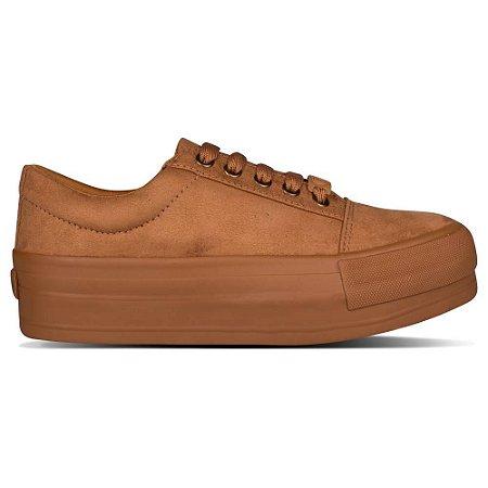 Tênis Capricho Shoes Break Plataform Suede Caramelo