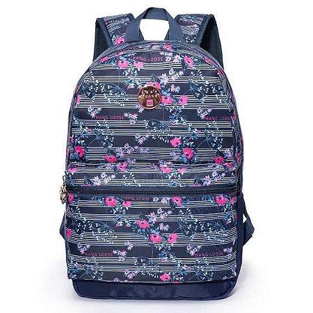 """Mochila Hang Loose Camelia Azul/Rosa para notebook de até 15,6"""""""