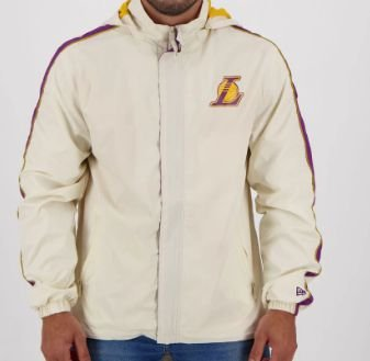 Jaqueta NBA Windbreak Los Angeles Lakers Off White