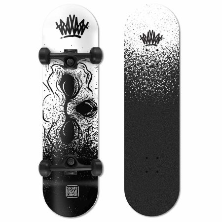 SKATE TRAXART X-PRO BLACK AND WHITE SKULL
