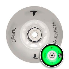 Jogo c/ 4 Rodas Traxart Led Verde 80mm Inline Roller Patins