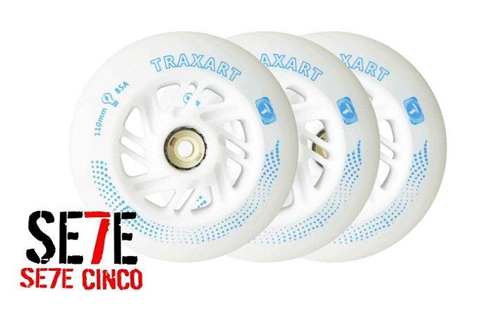 JOGO C/ 3 RODAS INLINE TRAXART LED 110MM/85A BRANCA