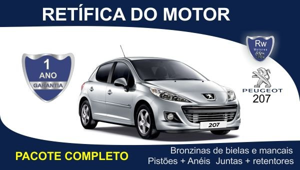 Retífica de motor Peugeot 207 1.4 8v. Pacote Completo