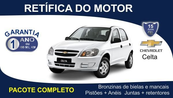 Retífica de motor Chevrolet Celta pacote completo
