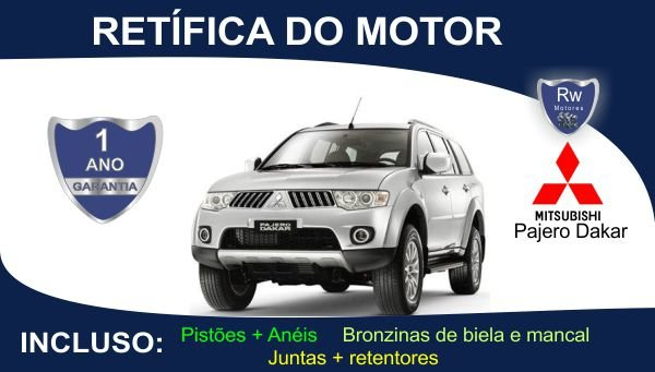 Retífica de motor Mitsubishi Pajero Dakar Turbo Diesel Pacote Completo