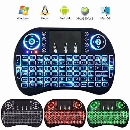 Mini Teclado Wireless Touchpad Tv Box Mx Pc Android Tv Smart com LEDs