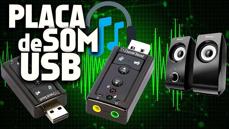 Adaptador de Placa de Som 7.1 Canais USB 2.0 para PCs e Notebooks