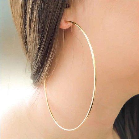 Par (2) de Brincos Feminino Argola Médio 7cm Dourado