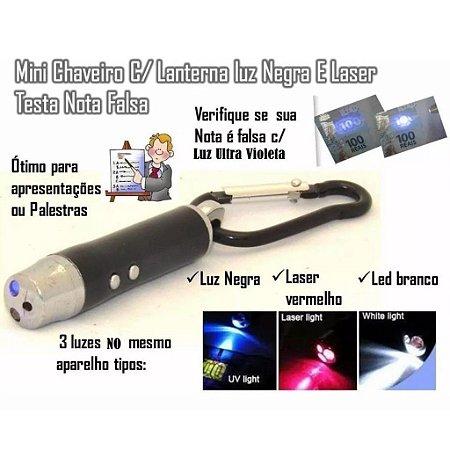 1 Caneta Laser 3 Em 1 / Laser Potente , Lanterna Chaveiro (testa nota falsa, ideal para professores, comerciante, autono