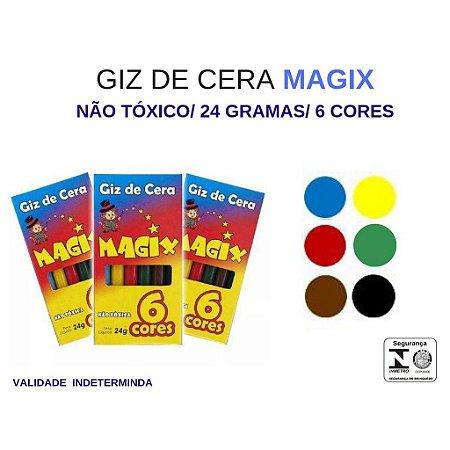 Giz de Cera Fino 06 Cores 24GR não tóxico, materias naturais brincadeira sadia para as crianças