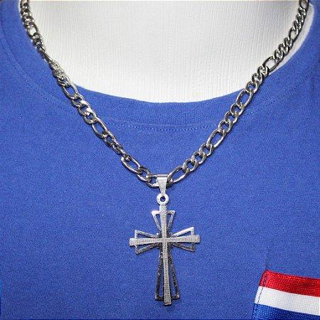 >PINGENTE CORRENTE MASCULINA ANTI ALÉRGICO CRUZ CRUCIFIXO JESUS PRATEADA