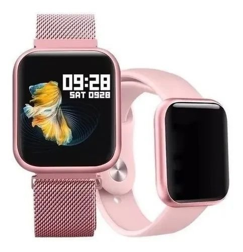Smartwatch Relógio Inteligente Feminino P80 Rosê + Pulseira Extra