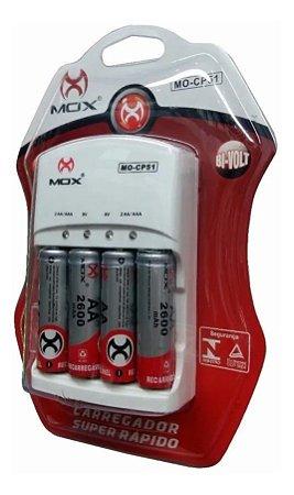 Carregador De Pilhas MOX Bivolt + 4 Pilhas Recarregáveis Aa