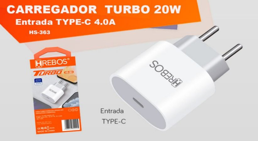 Fonte Carregador Turbo entrada Usb-c 20w Para iPhone/iPad
