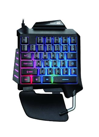 Teclado gamer Knup KP-2062 Knup Blue cor preto com luz rainbow