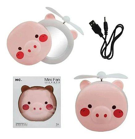 Mini Ventilador Espelho Led Usb Porquinho Rosa Ring