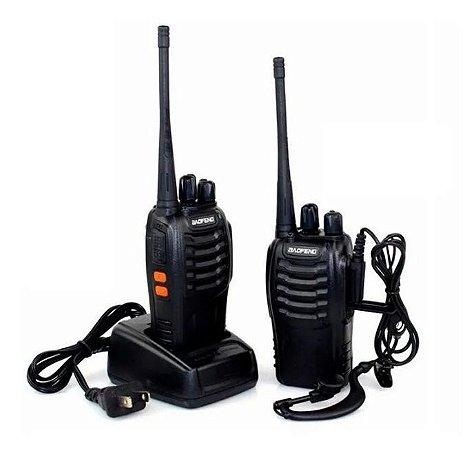 Kit Rádio Comunicador Baofeng 16 Canais Alcance 6km + Fone