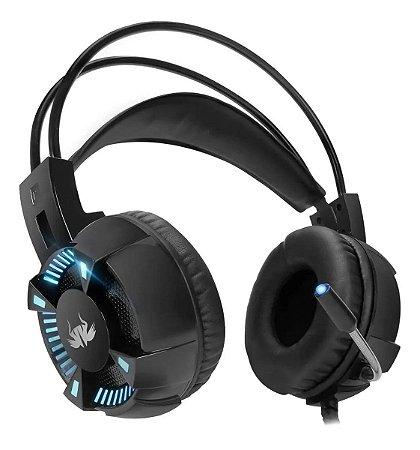 Fone de ouvido Gamer 7.1 Knup KP-464 black com luz LED