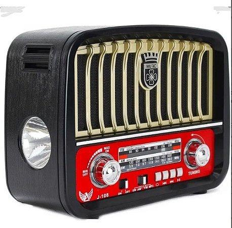 Caixa De Som Radio Retrô Usb/bluetooth/radio/lanterna J108t