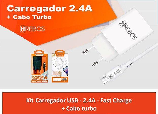 Carregador 2.4A cabo TYPE C HREBOS HS156