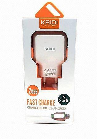 Carregador 2usb 2.4A com cabo iphone kaidi KD605A