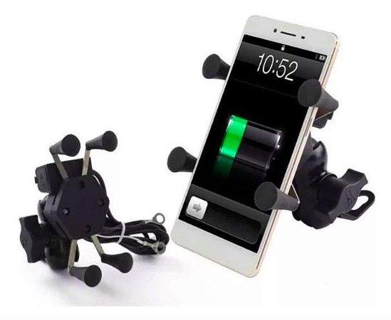 Suporte Celular Ou Gps Para Moto Universal C/ Carregador Usb
