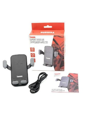 Suporte De Celular Para Carro Com Carregador Sem Fio 10W Tomate MTG-064