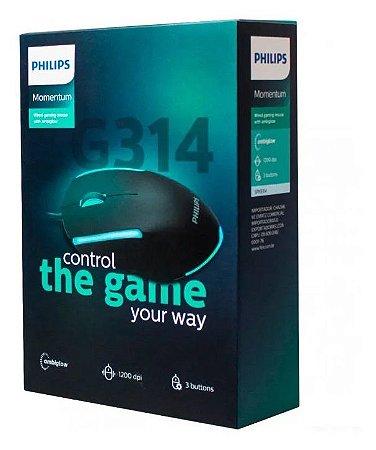 Mouse Gamer Philips Original Com Fio 3 Botões - G314 / Spk931