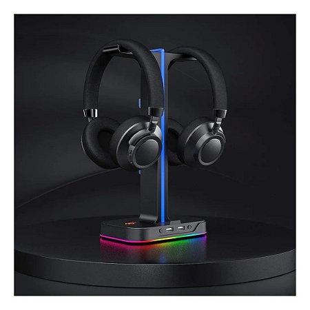 Suporte Headset Fone Gamer Iluminação Rgb 2 Porta Usb Knup