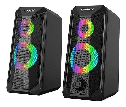 Caixa De Som Gamer Para PC e Notebook Com Led RGB LEHMOX GT-S4