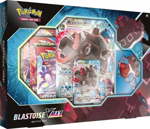 Jogo Cartas Box Pokemon Coleçao Batalha Blastoise Vmax Tcg com 8 booster + carta especial Blastoise