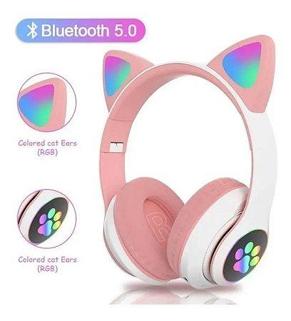Fone Gatinho Orelha Bluetooth Infantil Sem Fio Rosa Gato