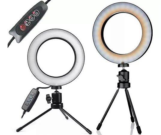 Ring Light Tripé Mesa Iluminador Youtuber Maquiagem