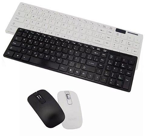 Kit Teclado + Mouse Wireless S/ Fio 1600 Dpi Smart Tv