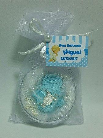 Mini terço na caixinha com sabonete anjo azul