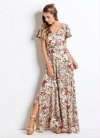 Vestido Longo com Fendas Floral Bege